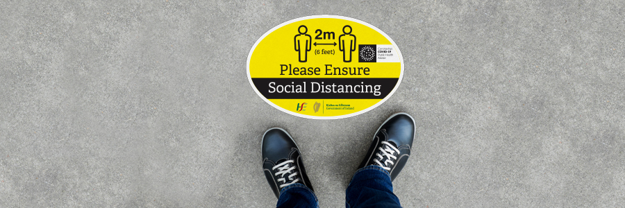social distancing floor stickers for manufacturing areas