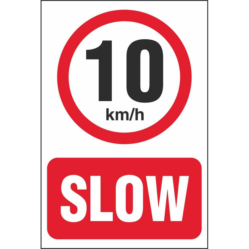 Slow 10 Km H Speed Limit Car Park Signs Prohibitory Car
