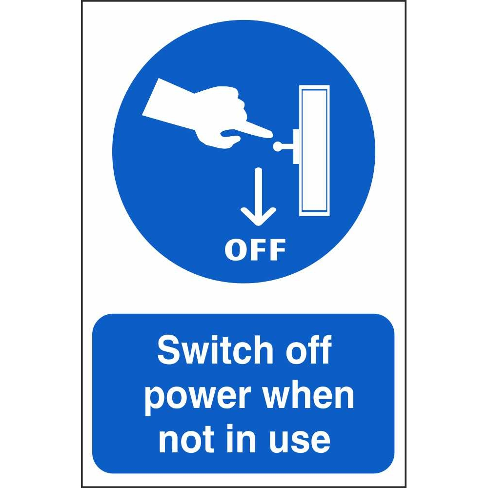 Switch Off Power Signs Mandatory Construction Safety