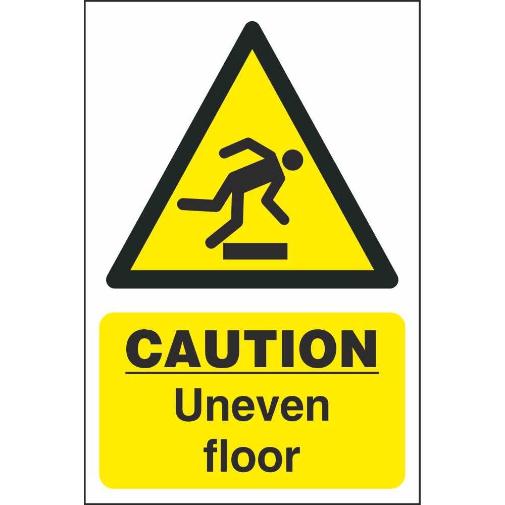 Caution uneven floor signs hazard construction safety for Floor banner