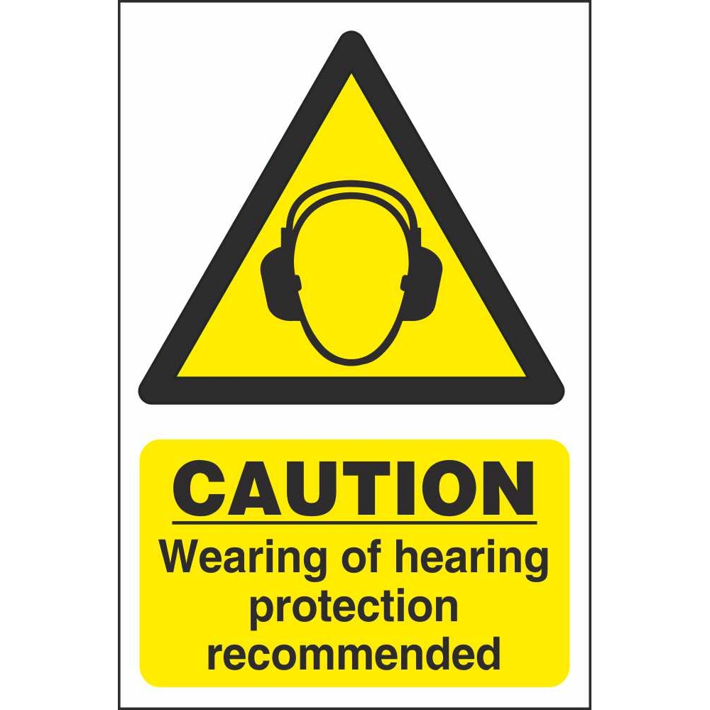 ... Signs Caution Wearing Of Hearing Protection Recommended Hazard Sign