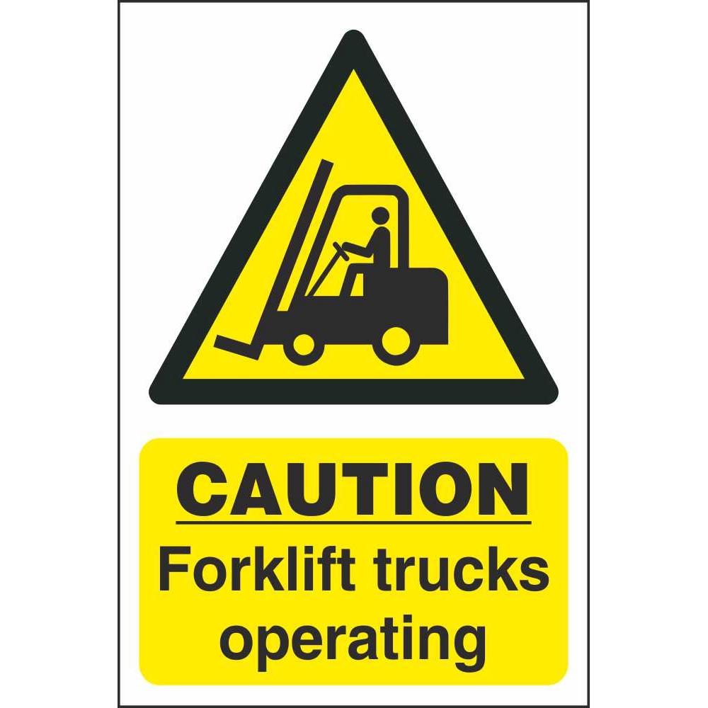 Exhibition Stands Ireland : Caution forklift trucks operating signs hazard