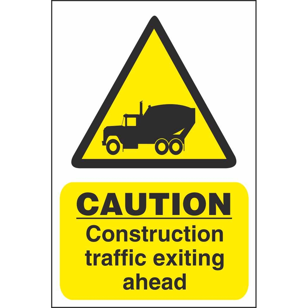 Caution Construction Traffic Exiting Ahead Hazard ...