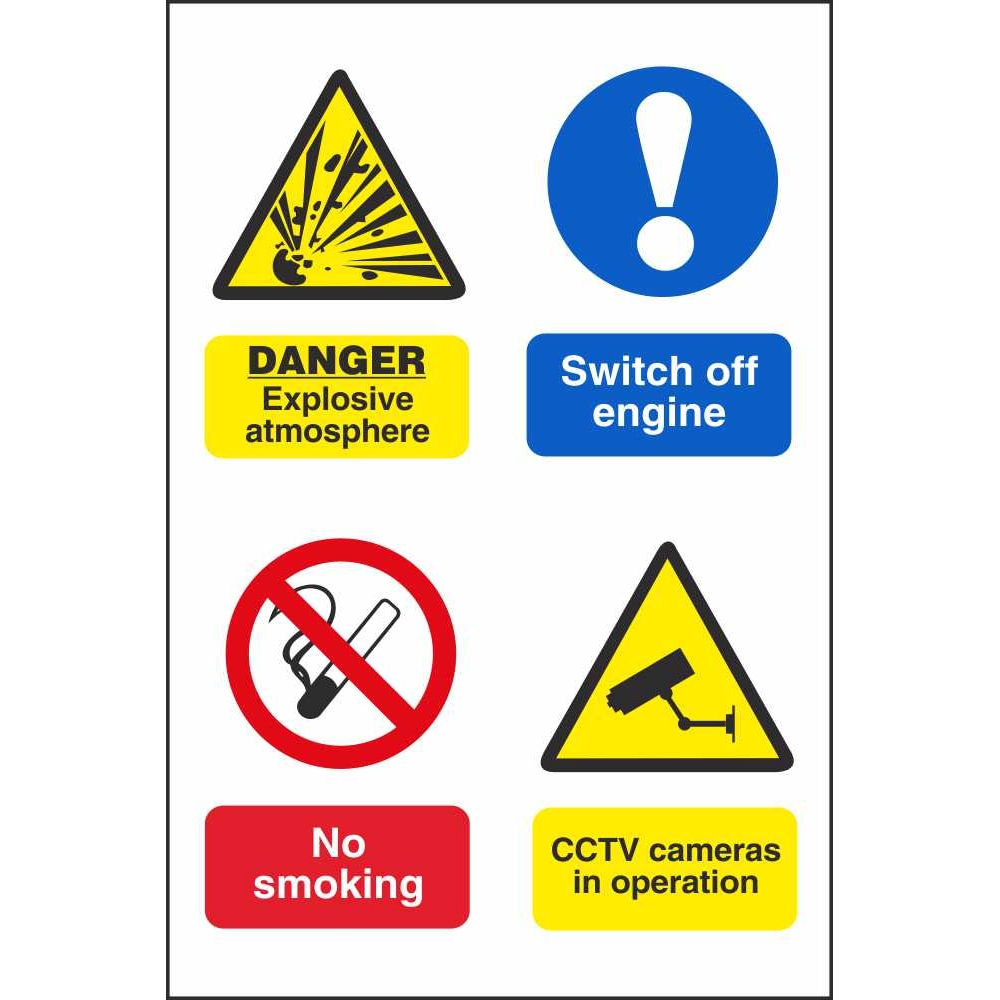 Multi Notice Symbol Signs Fire Prevention Explosive Hazard Site