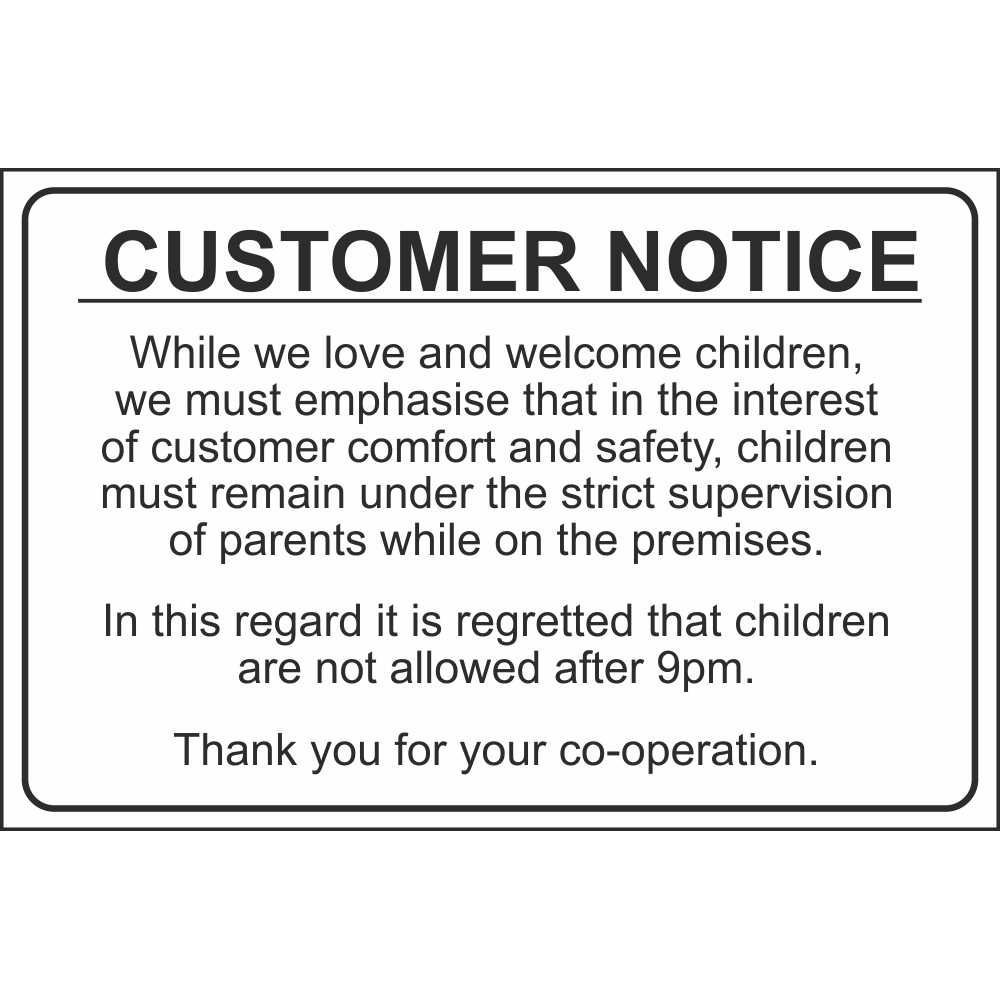 Customer Notice No Children Allowed After 9pm Child Safety Notice Signs