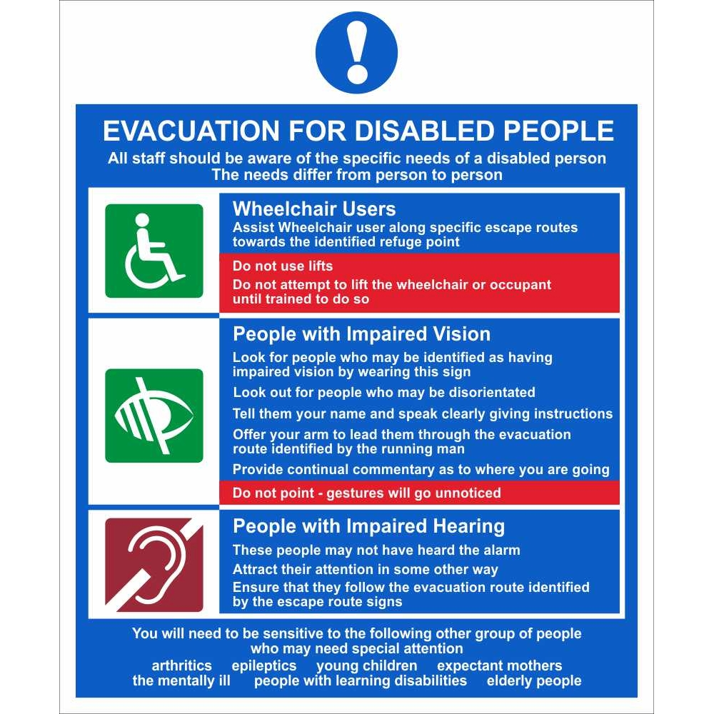 Evacuation For Disabled People Signs   Disability Fire