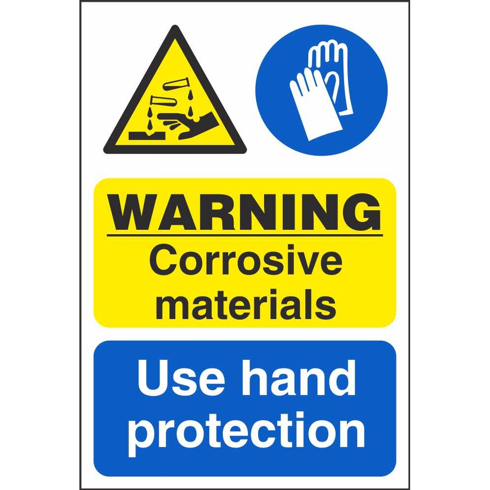 Corrosive materials use hand protection signs dangerous for Waste material hand work