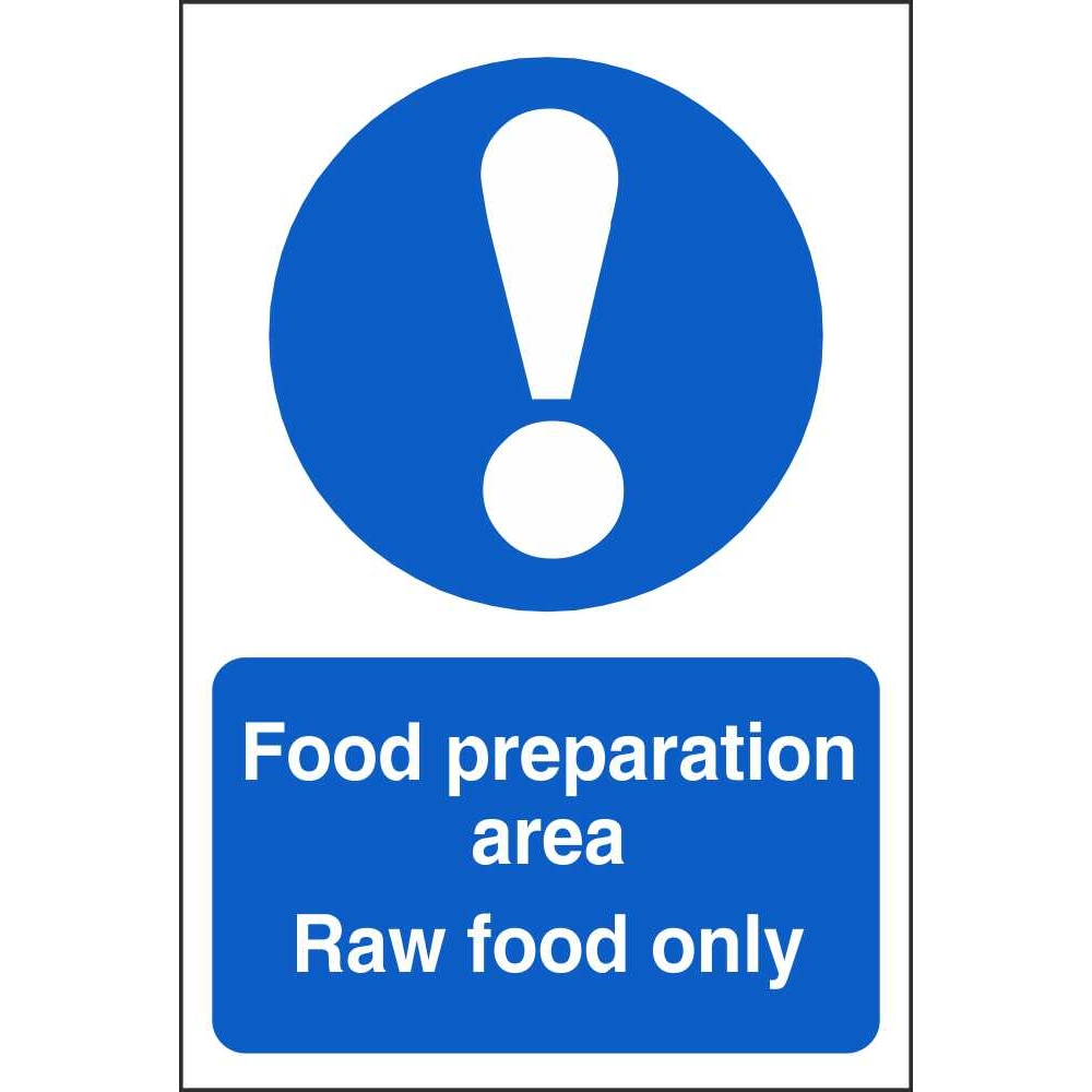 food preparation area raw food mandatory signs food hygiene signs food preparation area raw food only mandatory sign