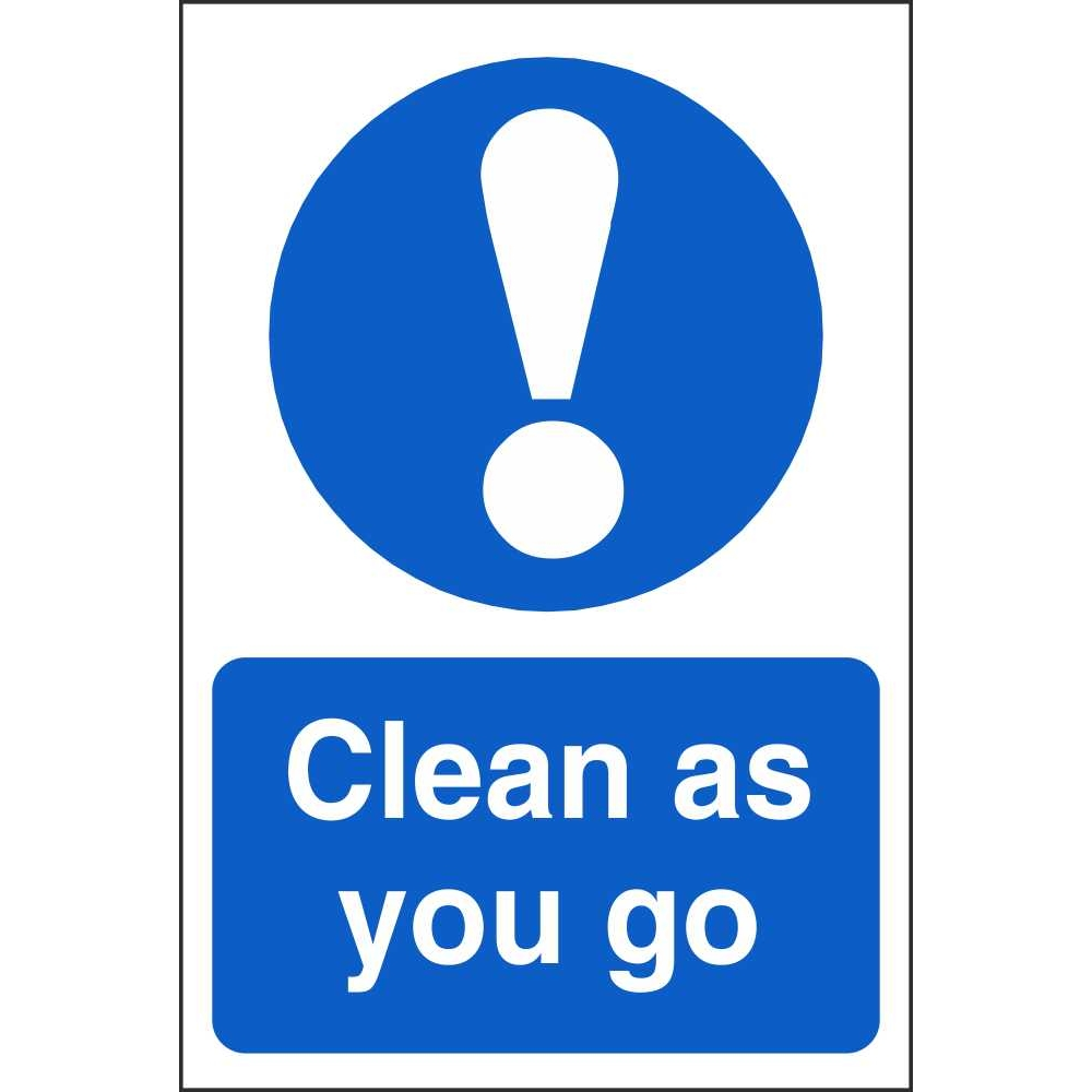 Safety Health And Hygiene Mandatory Clean As You Go Sign on Food To Help
