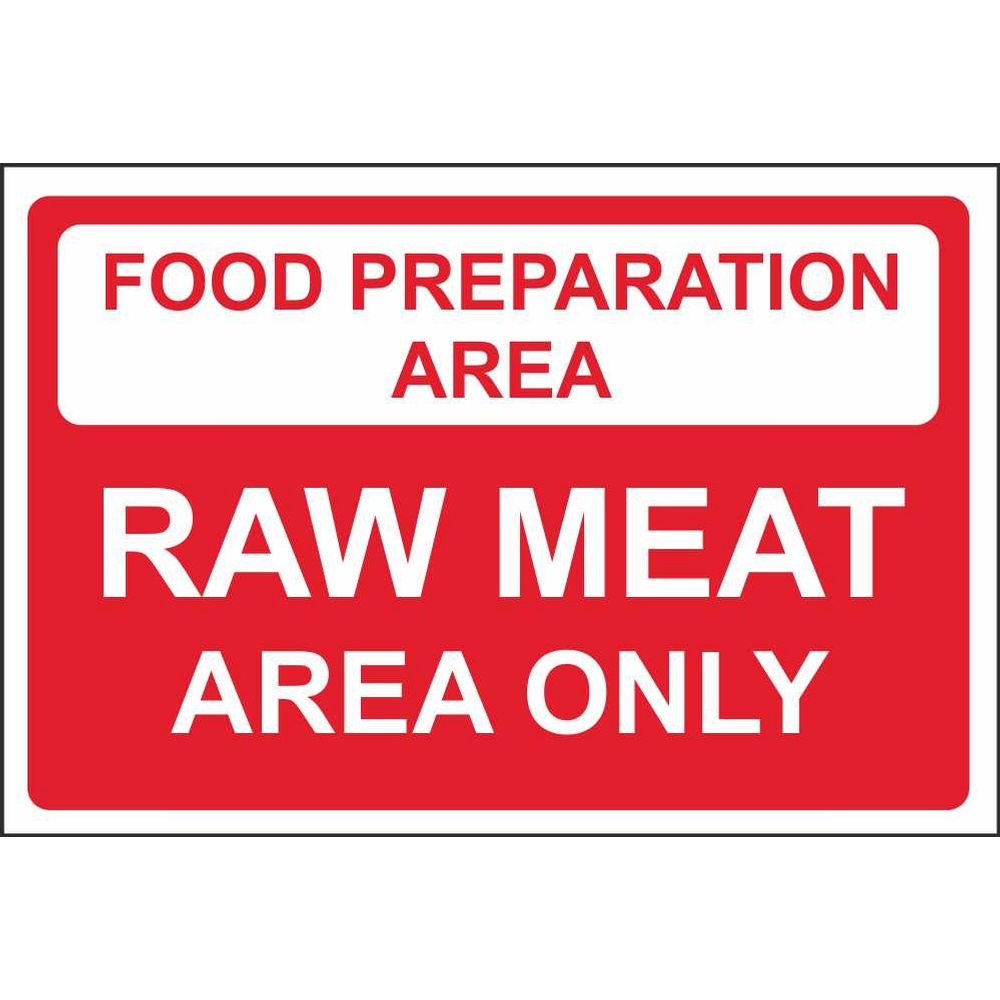 food preparation area raw meat area colour coded food safety signs food preparation area raw meat area colour coded sign