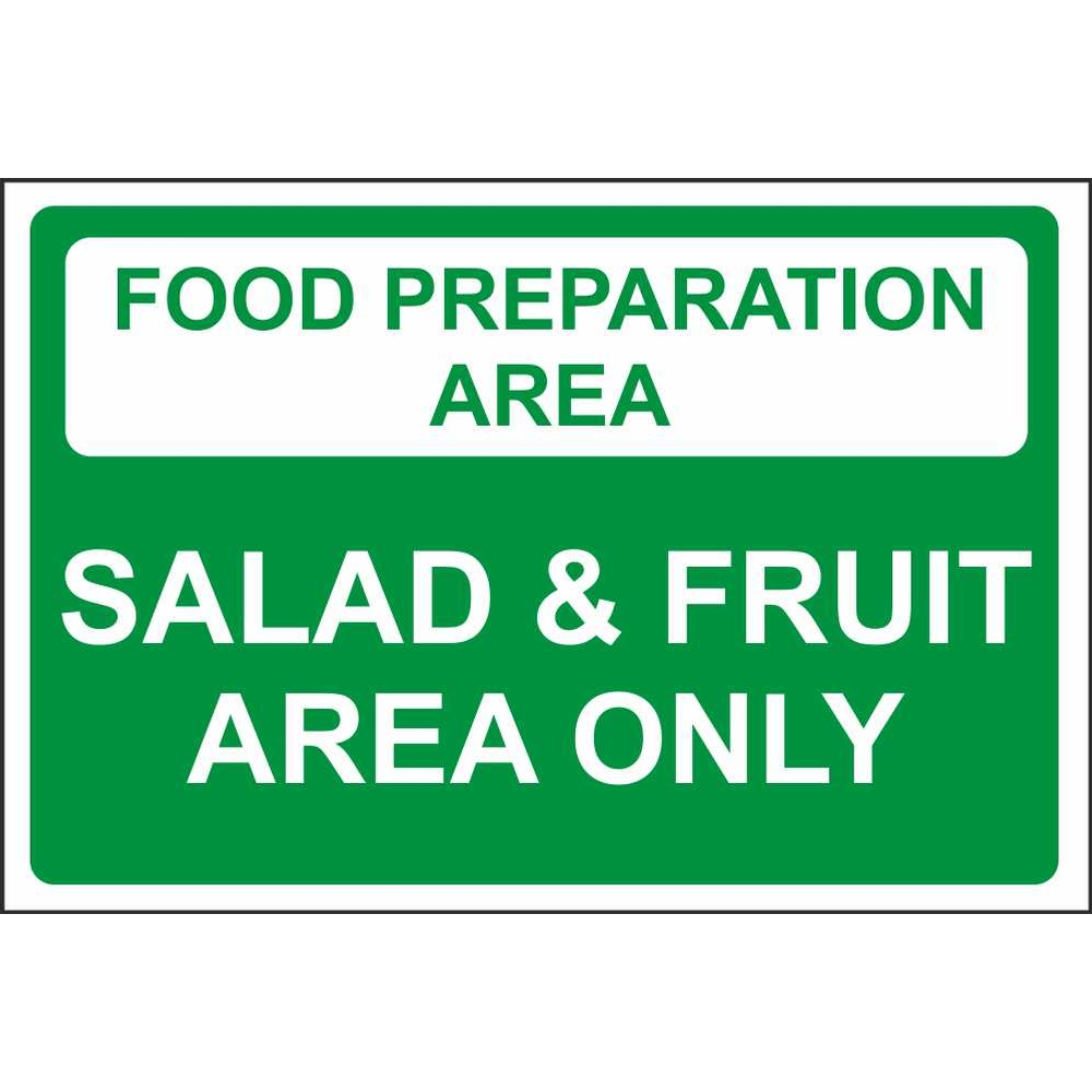 food preparation area salad fruit area colour coded food safety food preparation area salad fruit area only colour coded sign