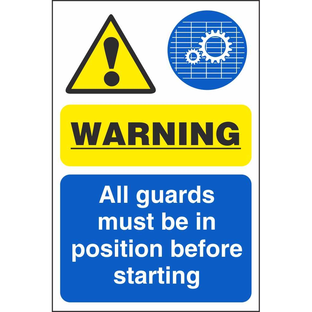 All Guards Must Be In Position Before Starting Machinery Safety Signs