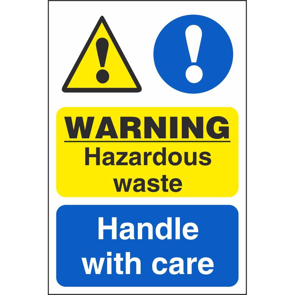 warning hazardous waste handle with care signs chemical hazards