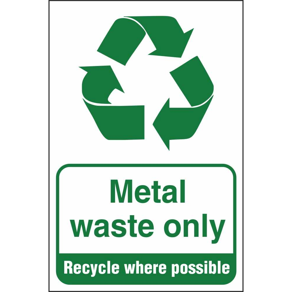 Metal Waste Only Signs Industrial Recycling Safety Signs