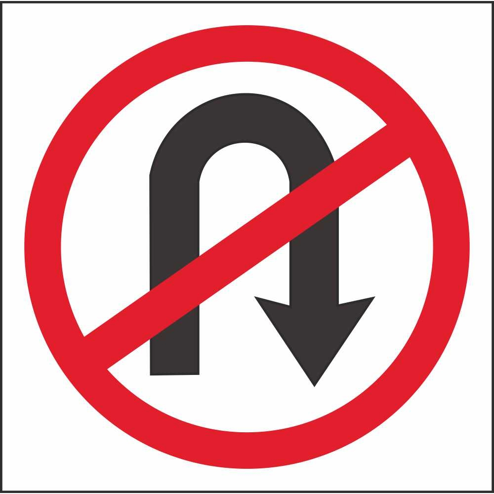 RUS 017 No U Turn | Regulatory Traffic Road Safety Signs Ireland