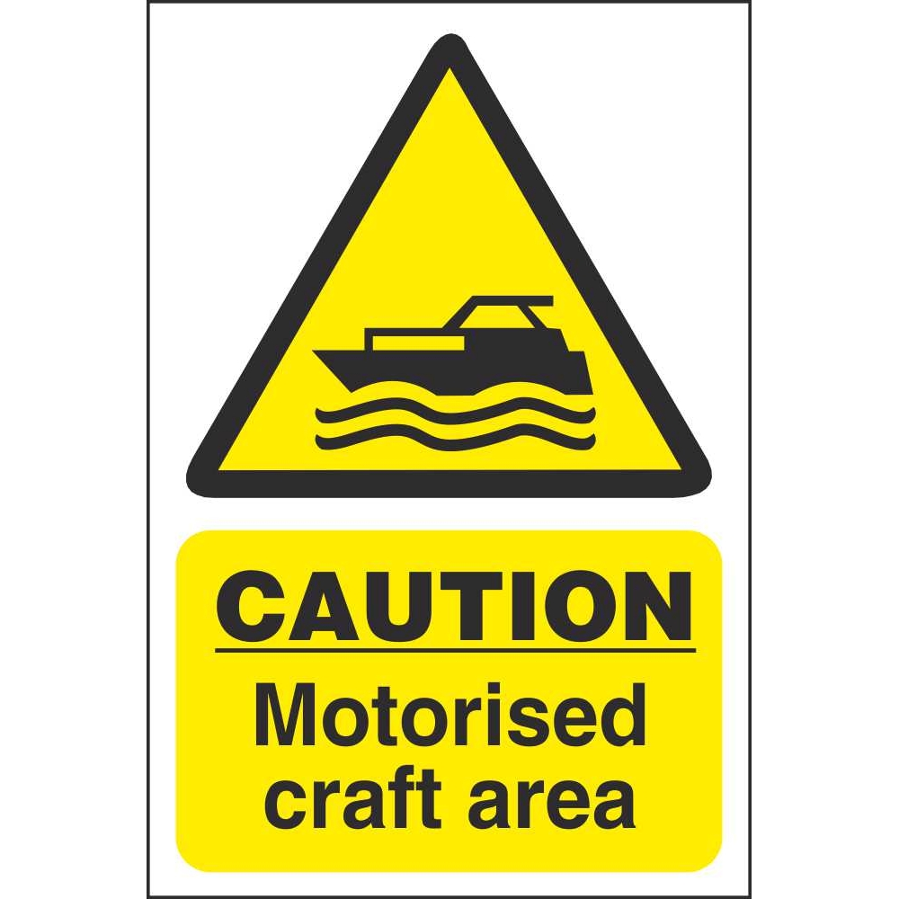 caution motorised craft area signs water hazard safety signs ireland