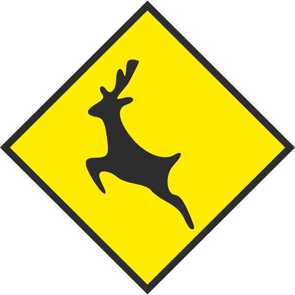 warning sign deer wild animals road signs safety